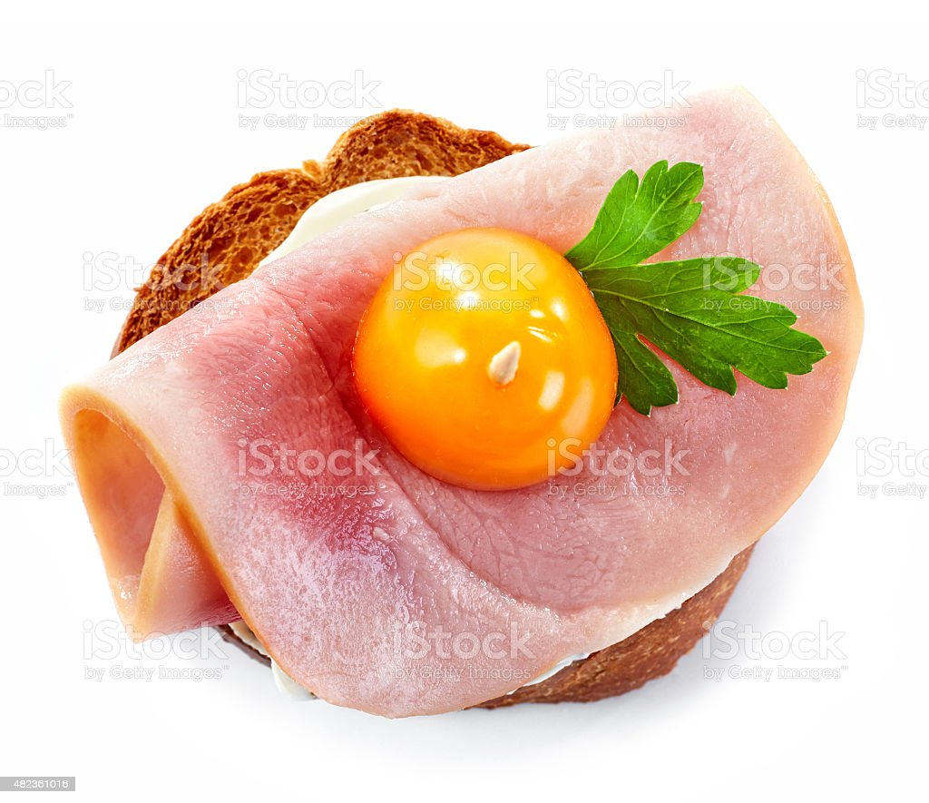 toasted bread with ham and tomato stock photo