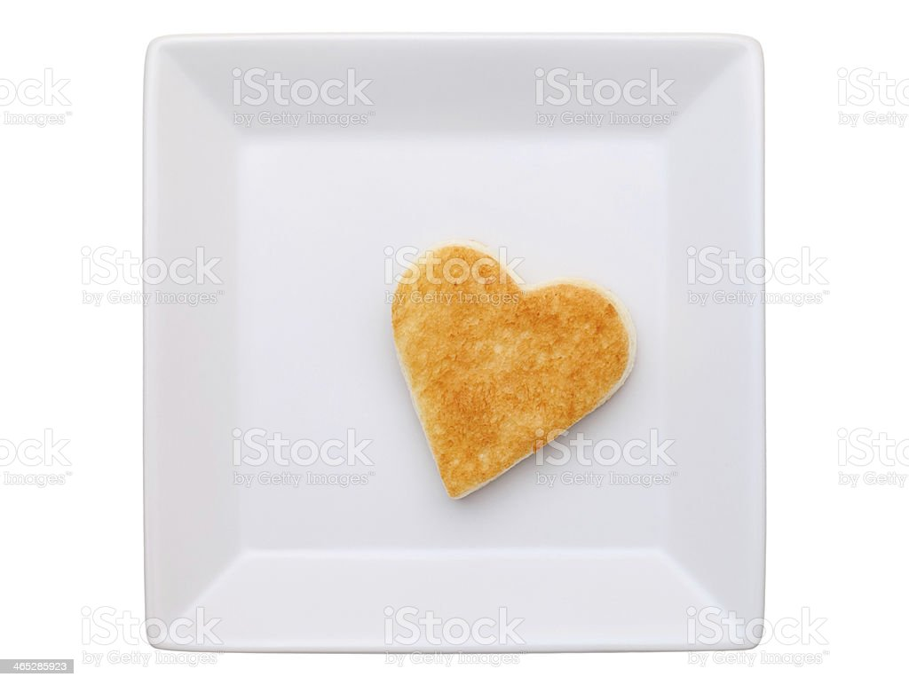 toasted bread with heart-shape stock photo