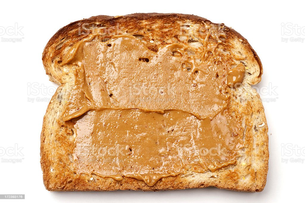 Toasted Bread with Peanut Butter royalty-free stock photo