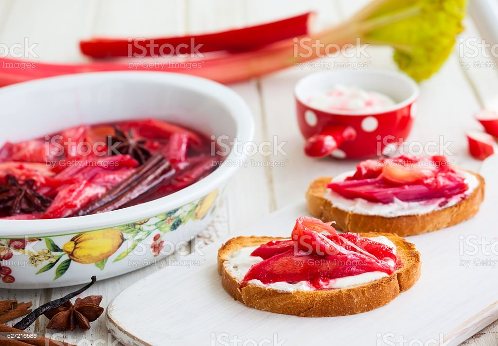 toasted bread with rhubarb stock photo