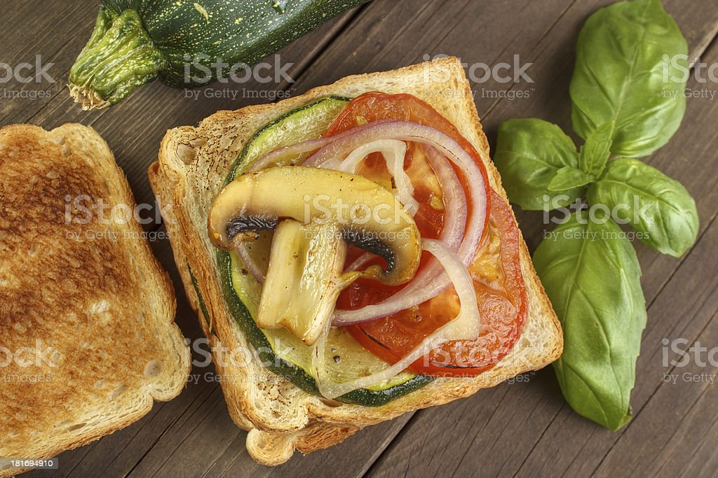 Toasted bread with vegetables royalty-free stock photo