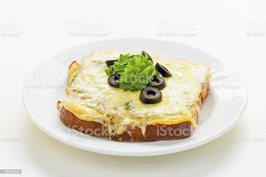 Toasted cheese sandwich with olives royalty-free stock photo