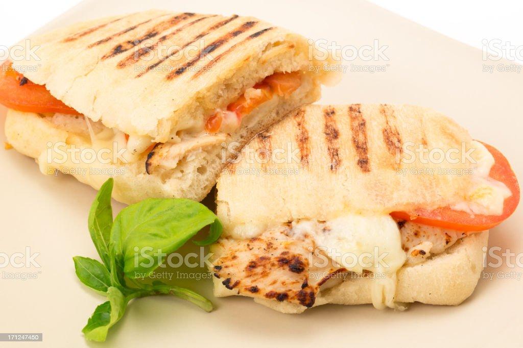 Toasted Chicken, tomato and mozzarella Panini sandwich stock photo