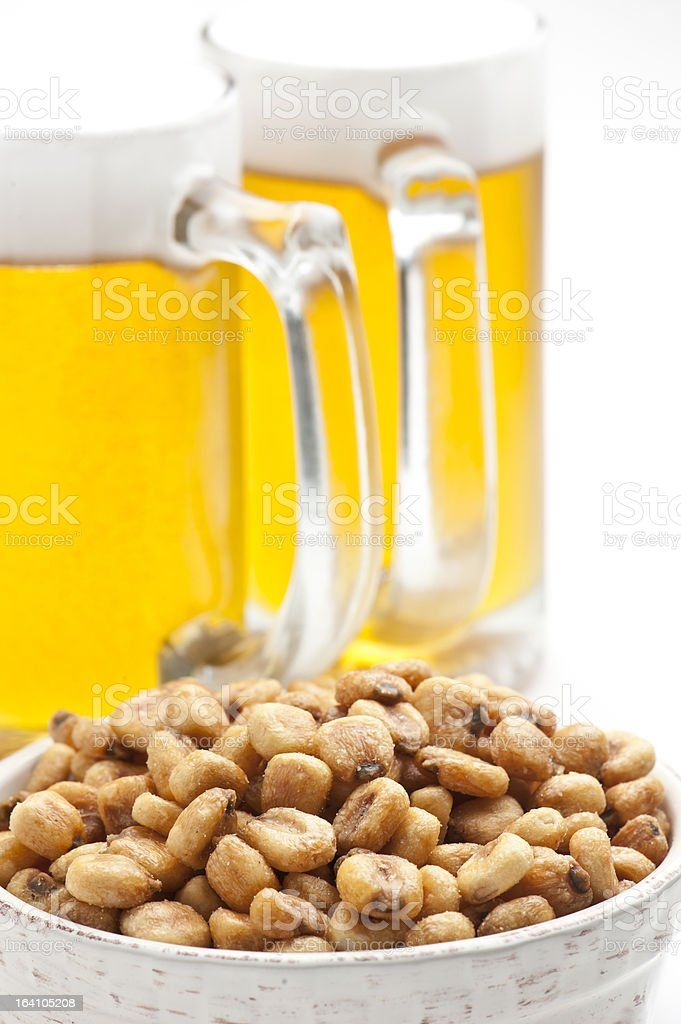 toasted corn and beer stock photo