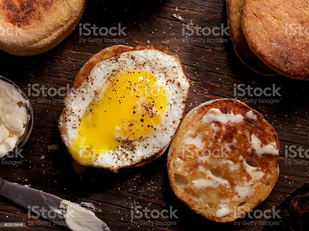 Toasted English Muffin With a Sunny side up Egg stock photo