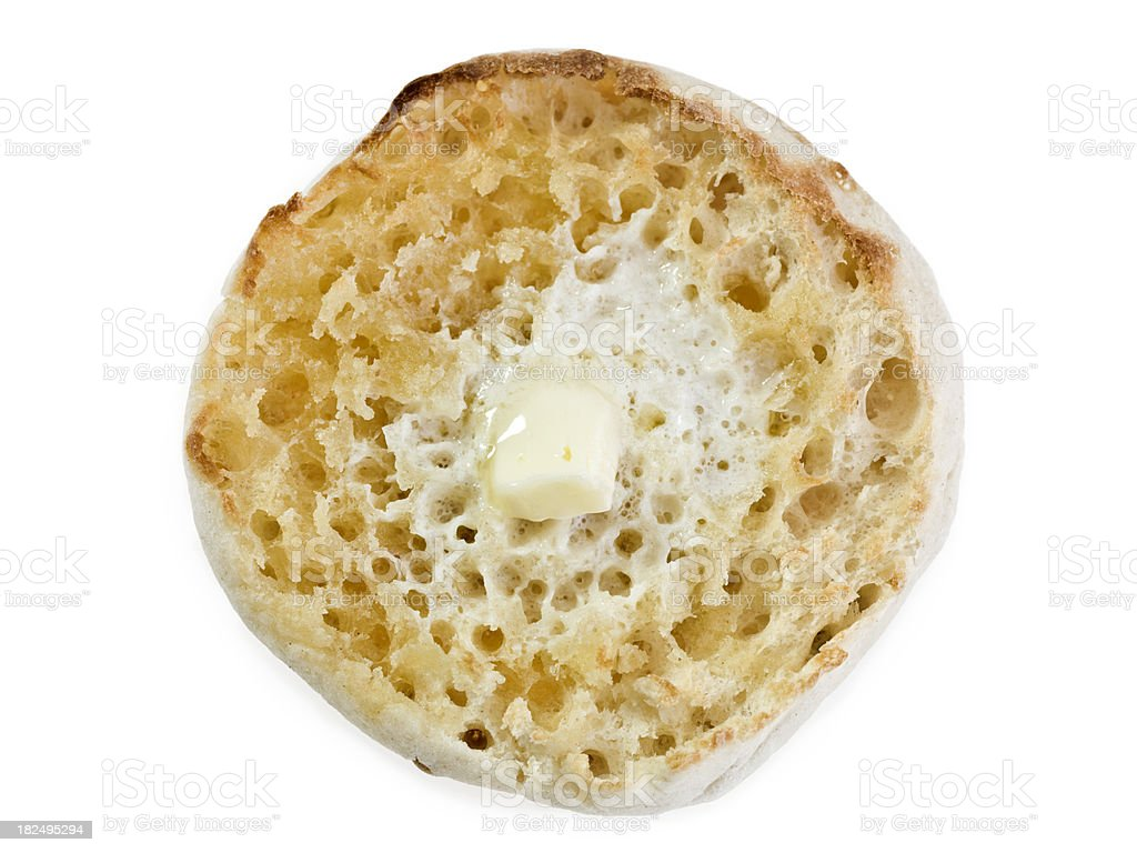 toasted english muffin with butter royalty-free stock photo