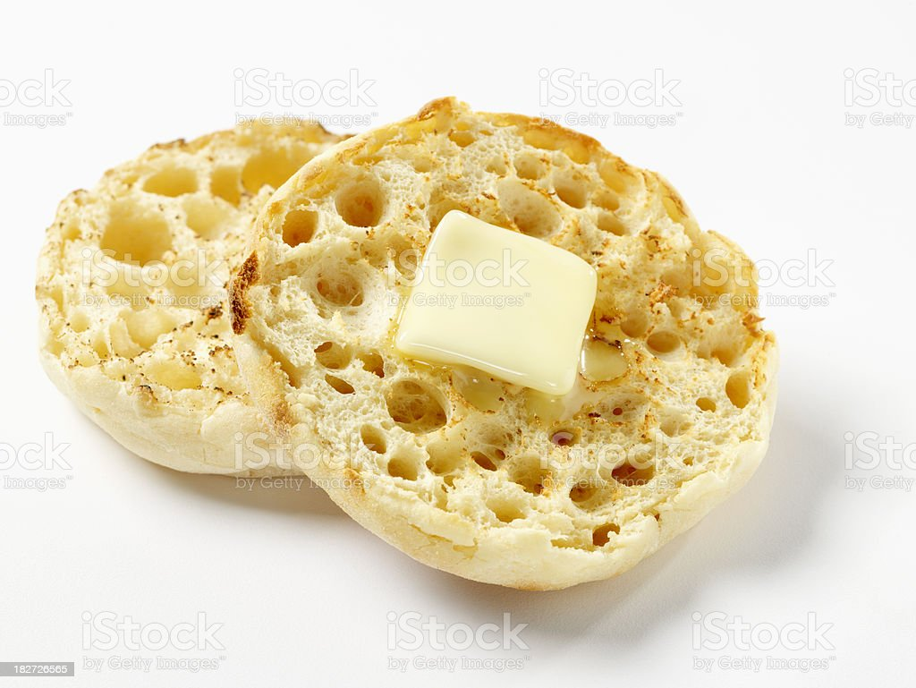 Toasted English Muffin with Butter stock photo
