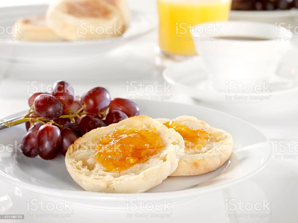 Toasted English Muffin with Orange Marmalade stock photo