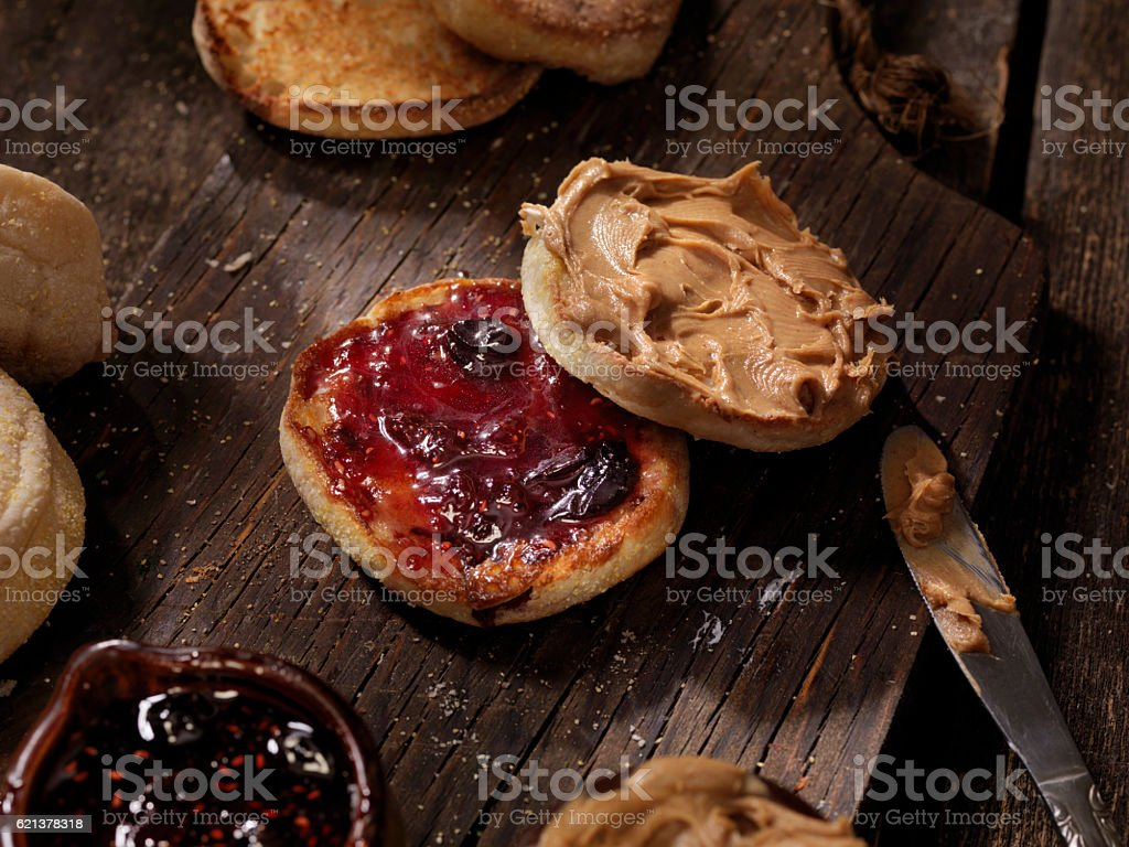Toasted English Muffin with Peanut Butter and Jam stock photo