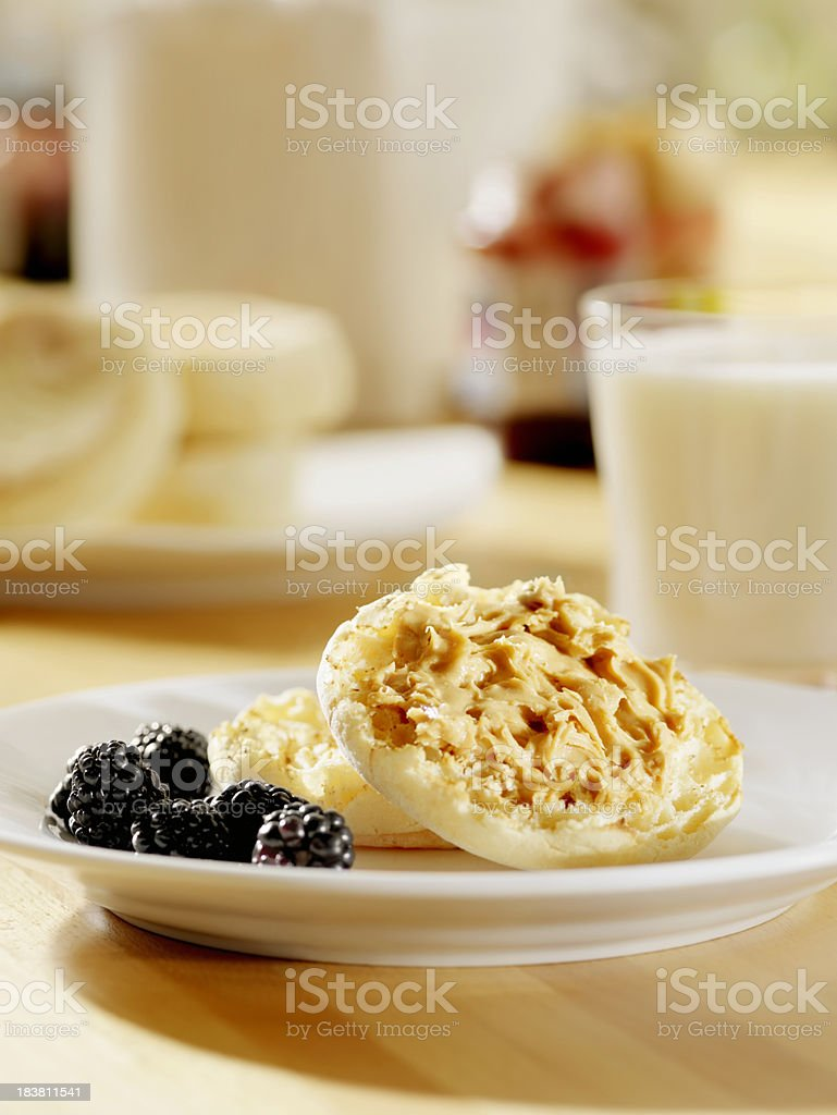 Toasted English Muffin with Peanut Butter stock photo