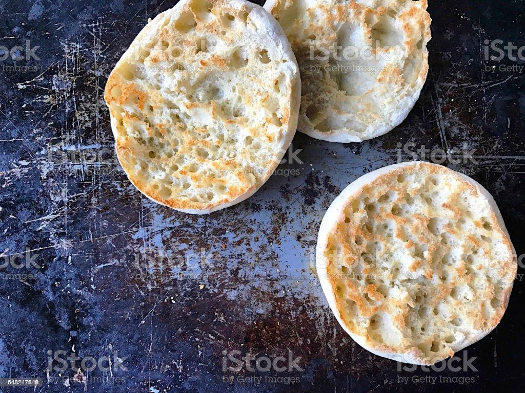 Toasted English muffins stock photo