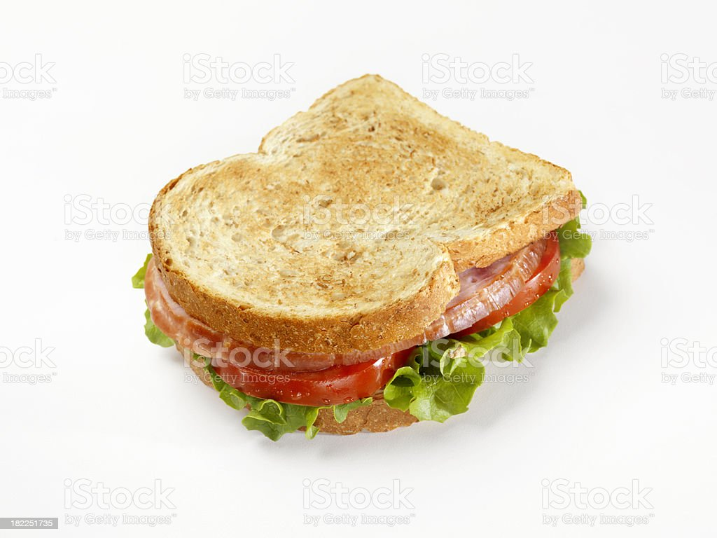 Toasted Ham Sandwich from Above royalty-free stock photo
