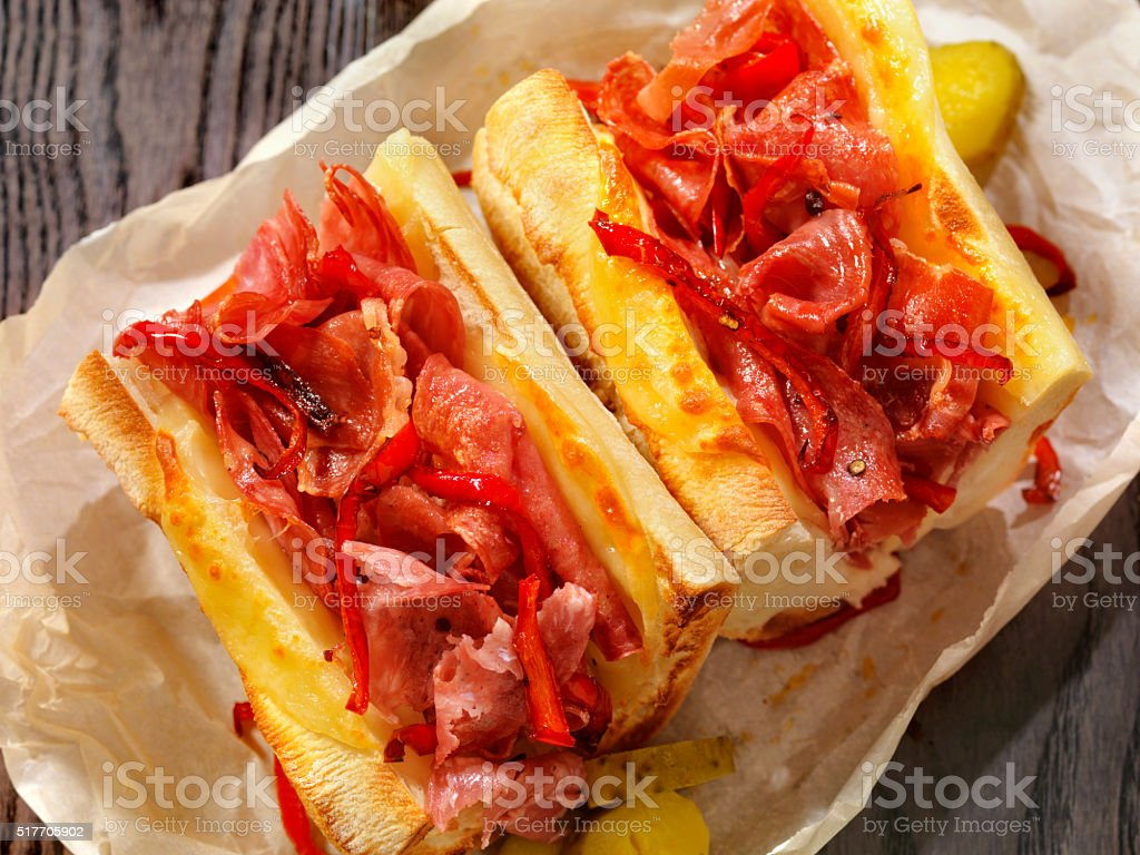 Toasted Italian Sandwich with Roasted Red Peppers stock photo