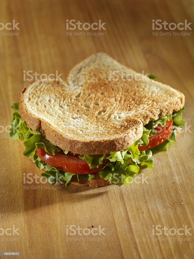 Toasted Lettuce and Tomato Sandwich royalty-free stock photo