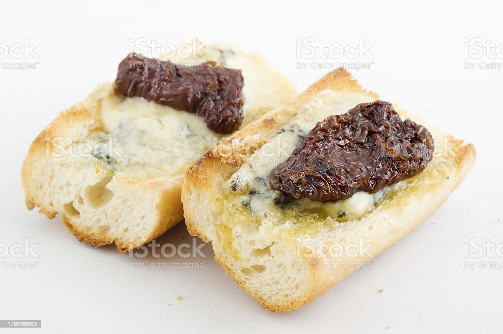 Toasted Open Face Baguette Sandwich royalty-free stock photo