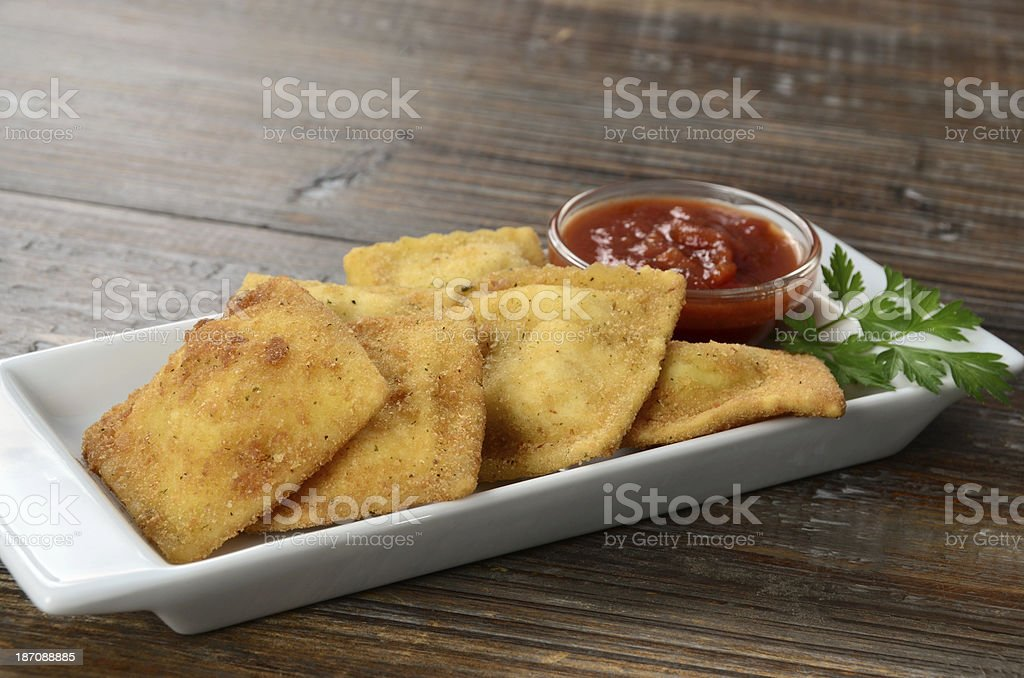 Toasted Ravioli Appetizer royalty-free stock photo
