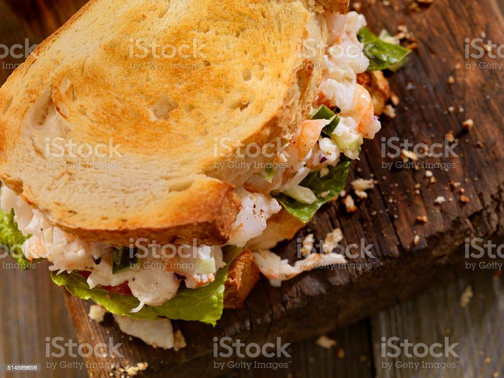 Toasted Seafood Salad Sandwich stock photo