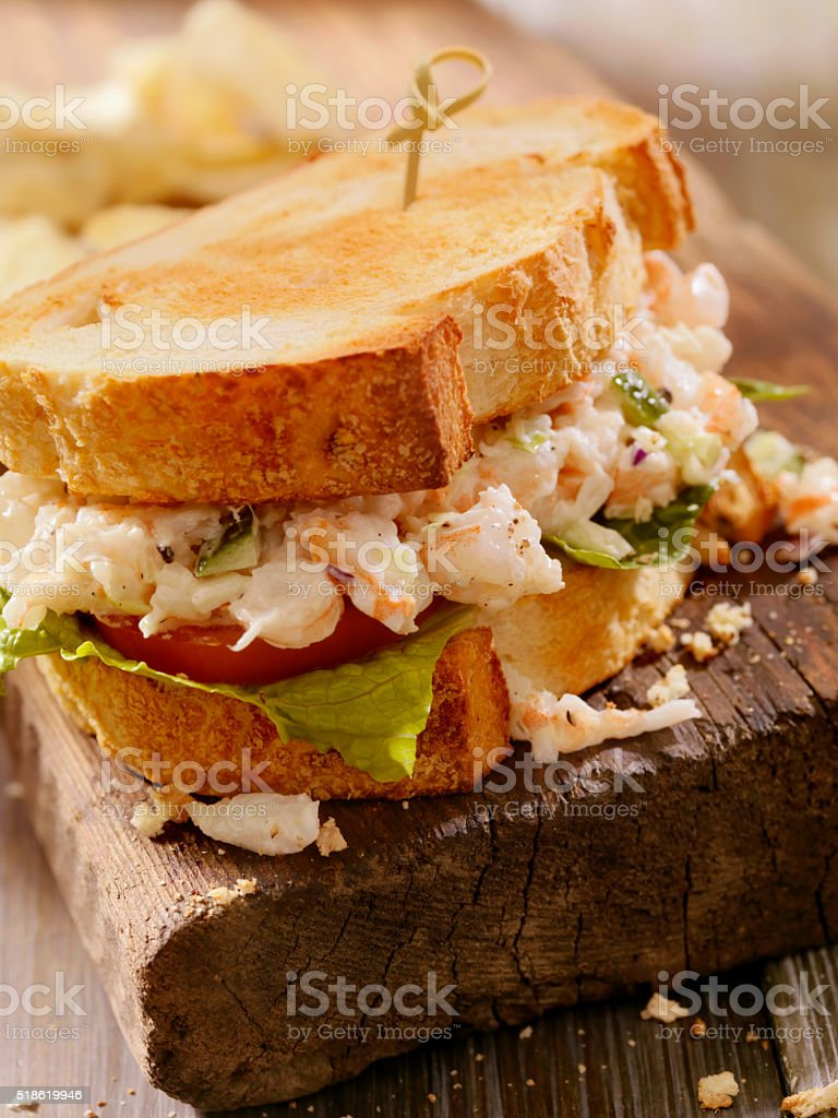 Toasted Seafood Salad Sandwich stock photo