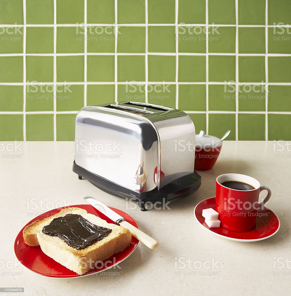 Toaster, toast and coffee stock photo