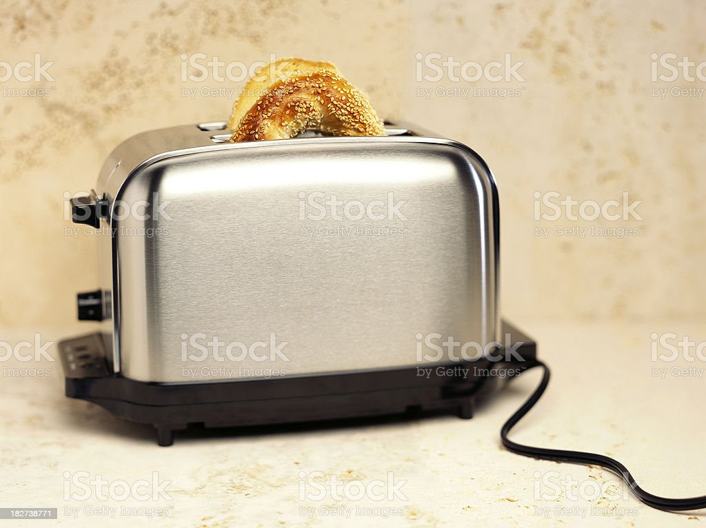 toaster with bagel stock photo