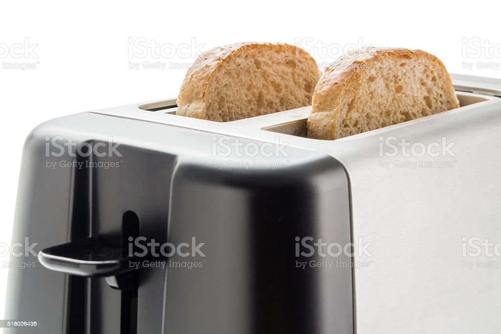Toaster with bread slices stock photo