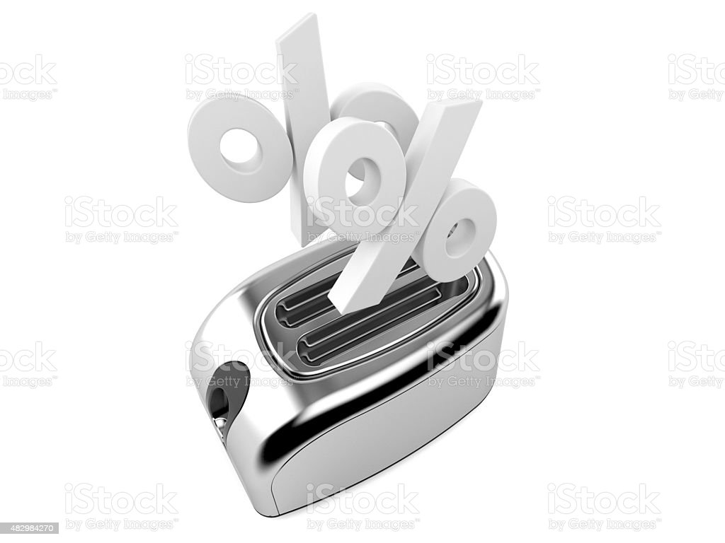 Toaster with percent symbols stock photo