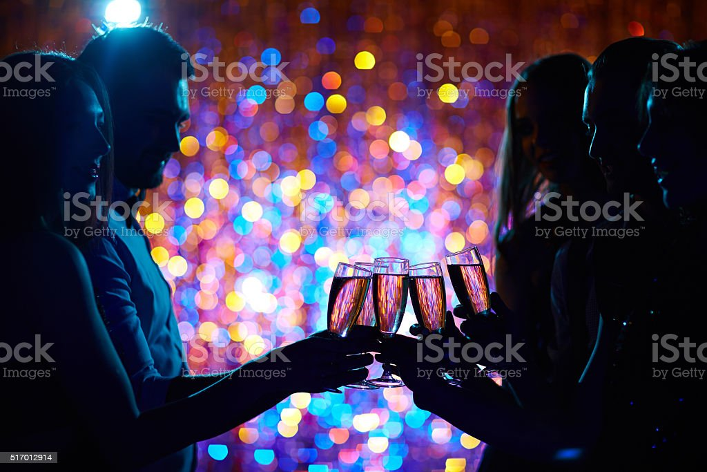 Toasting at party stock photo