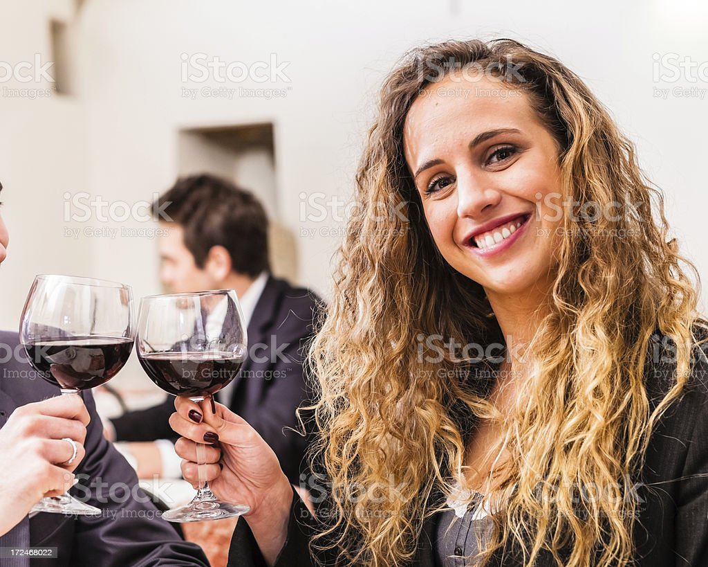 Toasting at Romantic Date, Young Adult Female royalty-free stock photo