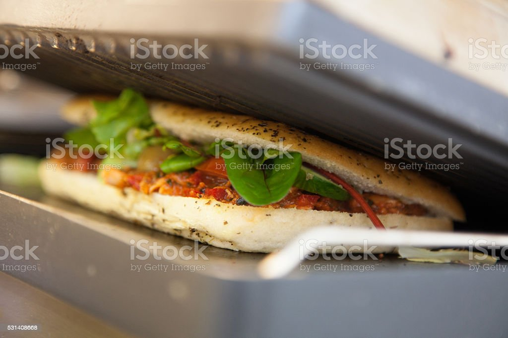 Toasting baguette stock photo