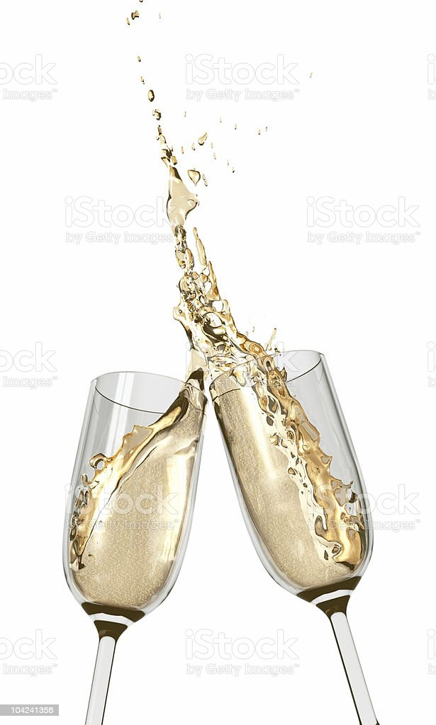 Toasting champagne glass flutes stock photo