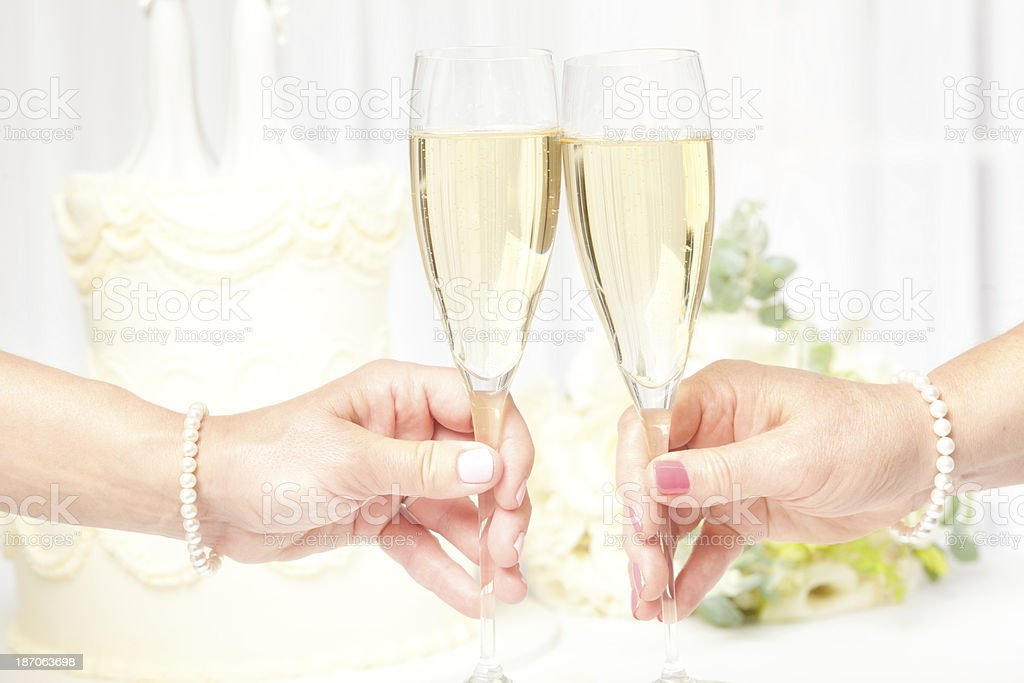 Toasting Champagne Same Sex Marriage Lesbian Wedding royalty-free stock photo