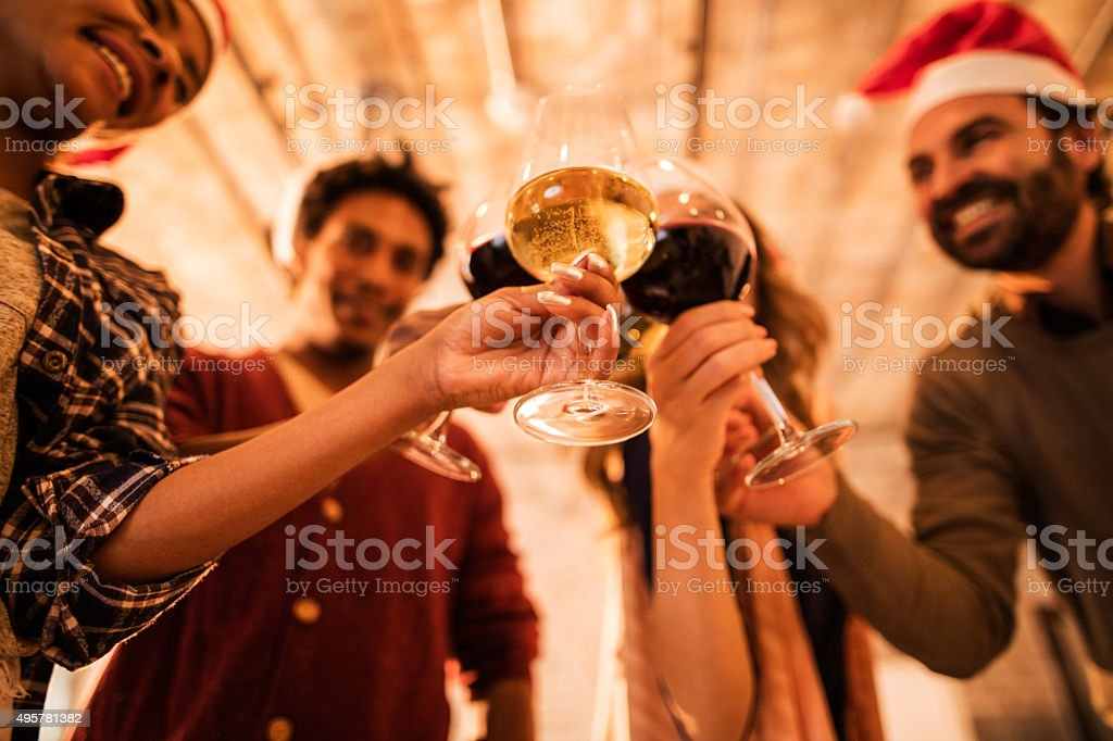 Toasting for upcoming business achievements in New Year! stock photo