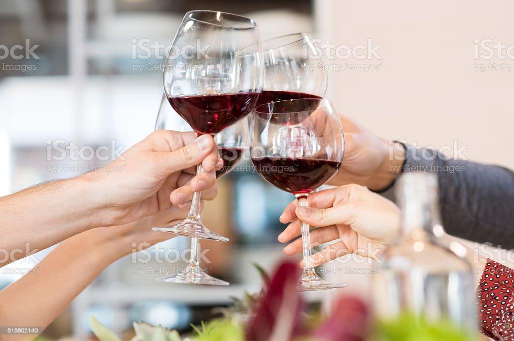 Toasting glasses stock photo