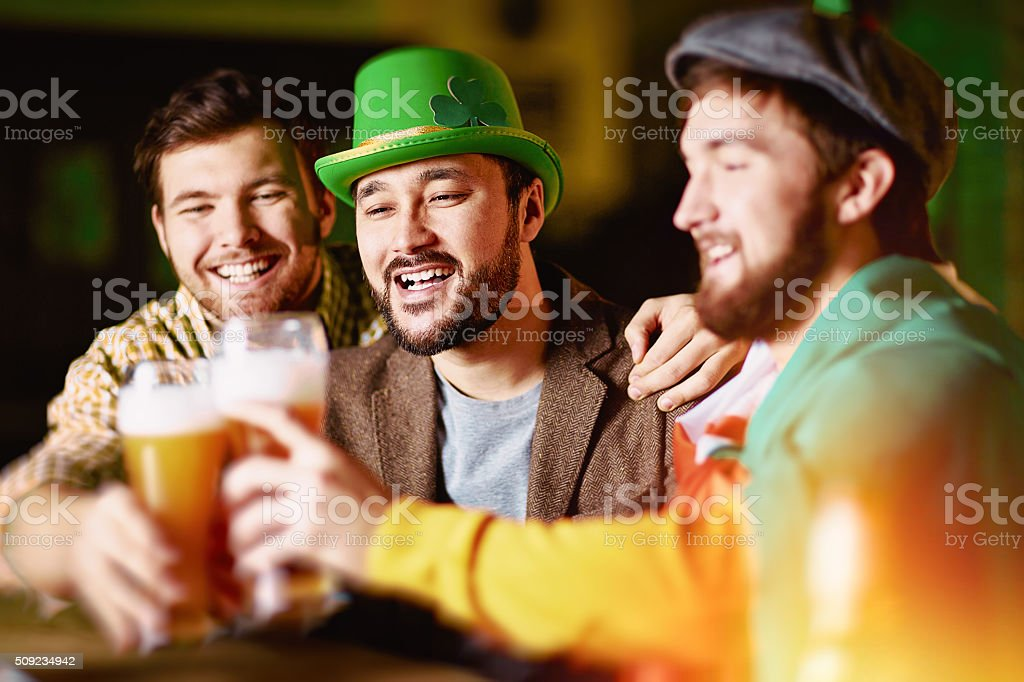 Toasting in tavern stock photo