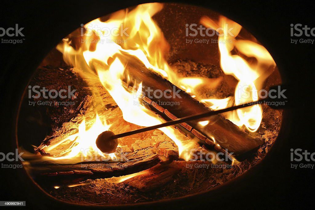 Toasting Marshmallows stock photo
