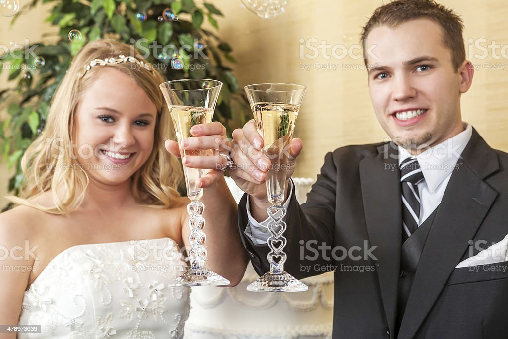 Toasting the bride and groom royalty-free stock photo