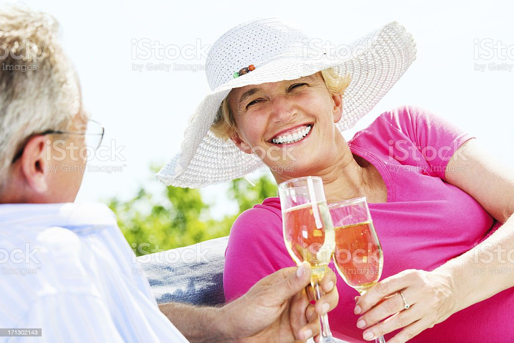 Toasting to their relationship royalty-free stock photo
