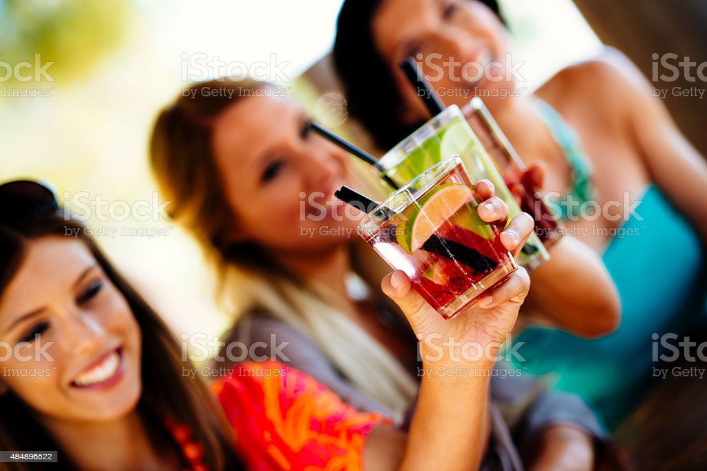 Toasting with Cocktails stock photo