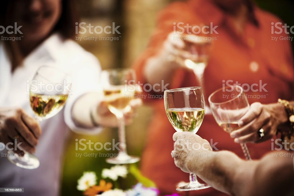 Toasting with White Wine royalty-free stock photo