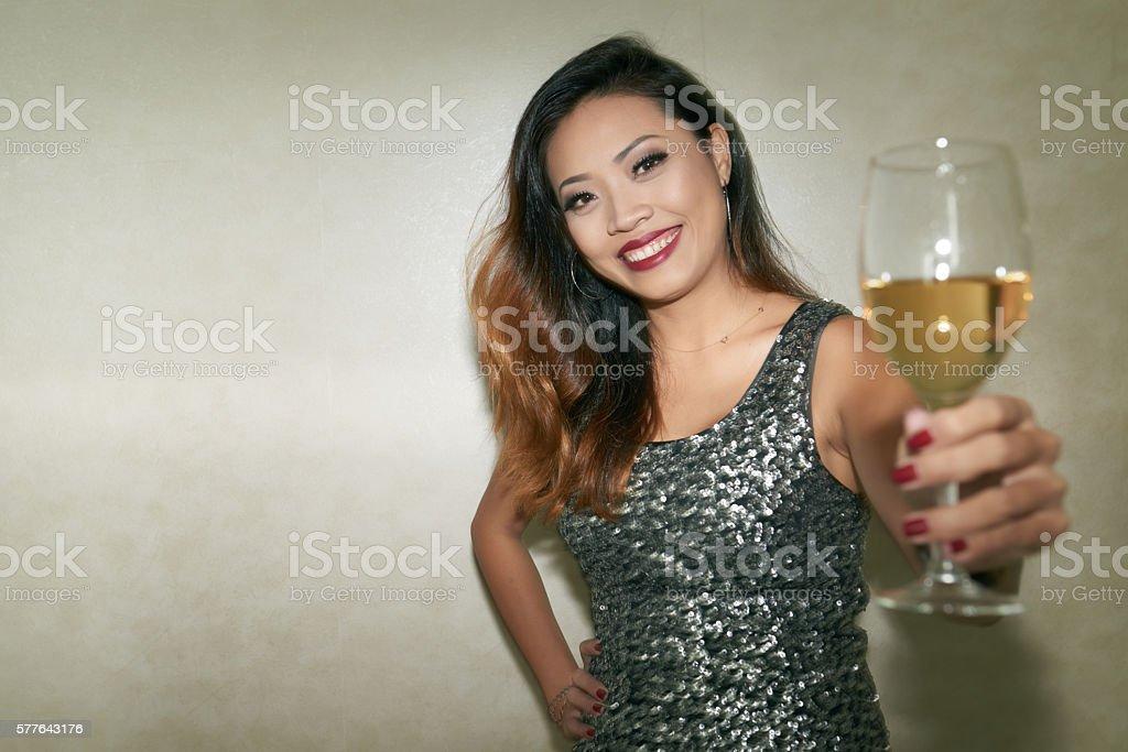 Toasting woman stock photo