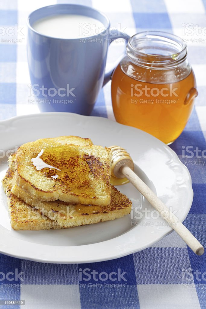 Toasts, honey, and milk royalty-free stock photo