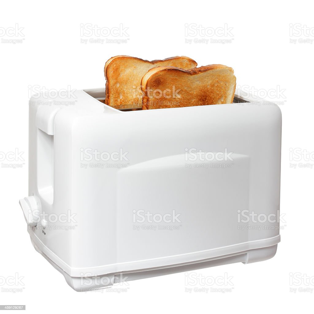 Toasts on a white toaster on white back stock photo