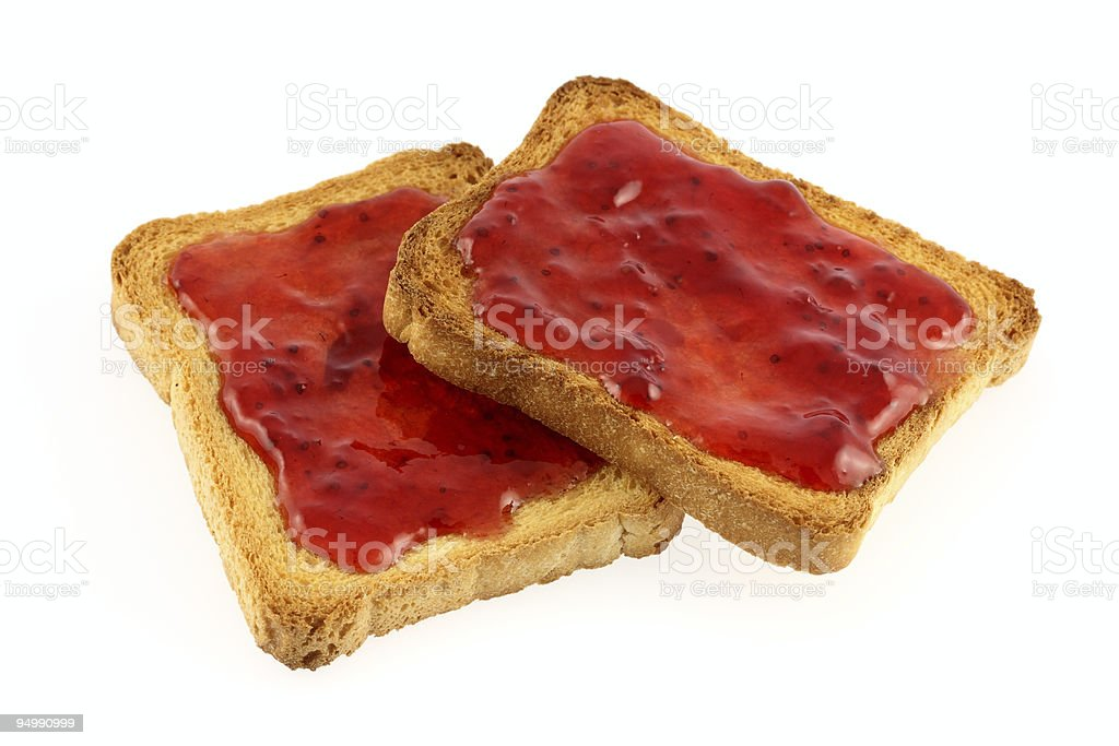 Toasts with strawberry jam royalty-free stock photo