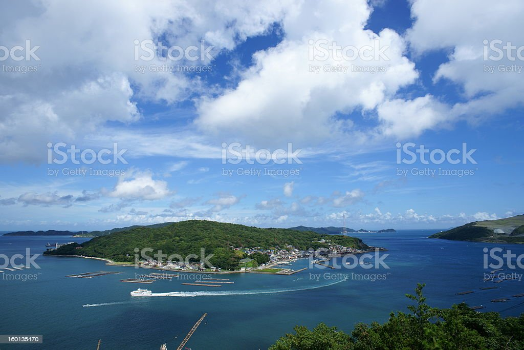 Toba sea and Sakatejima island stock photo