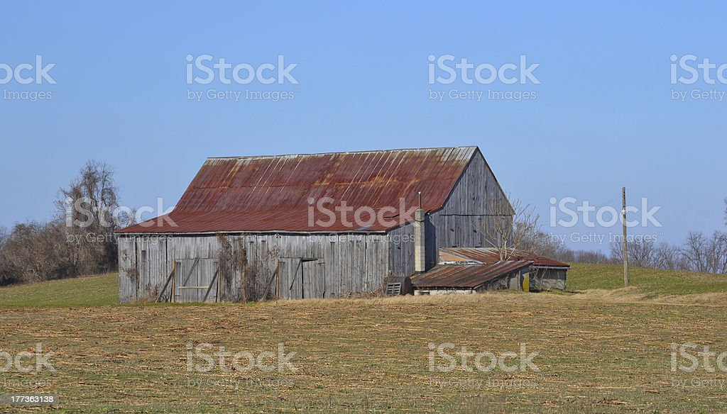 Tobacco Barn with Rusted Roof stock photo
