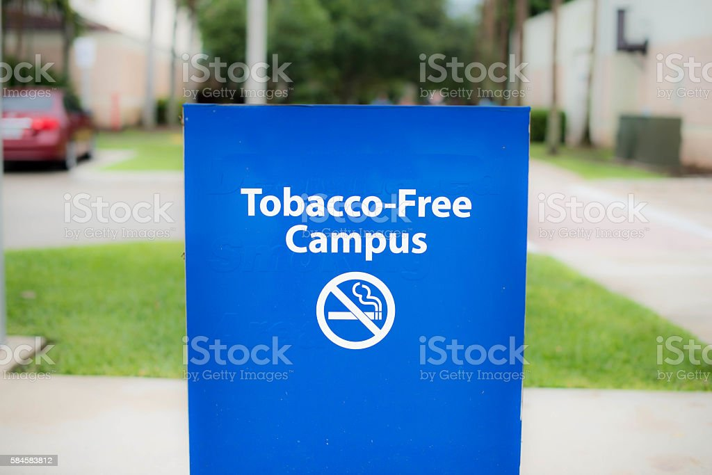 Tobacco Free Campus Sign stock photo