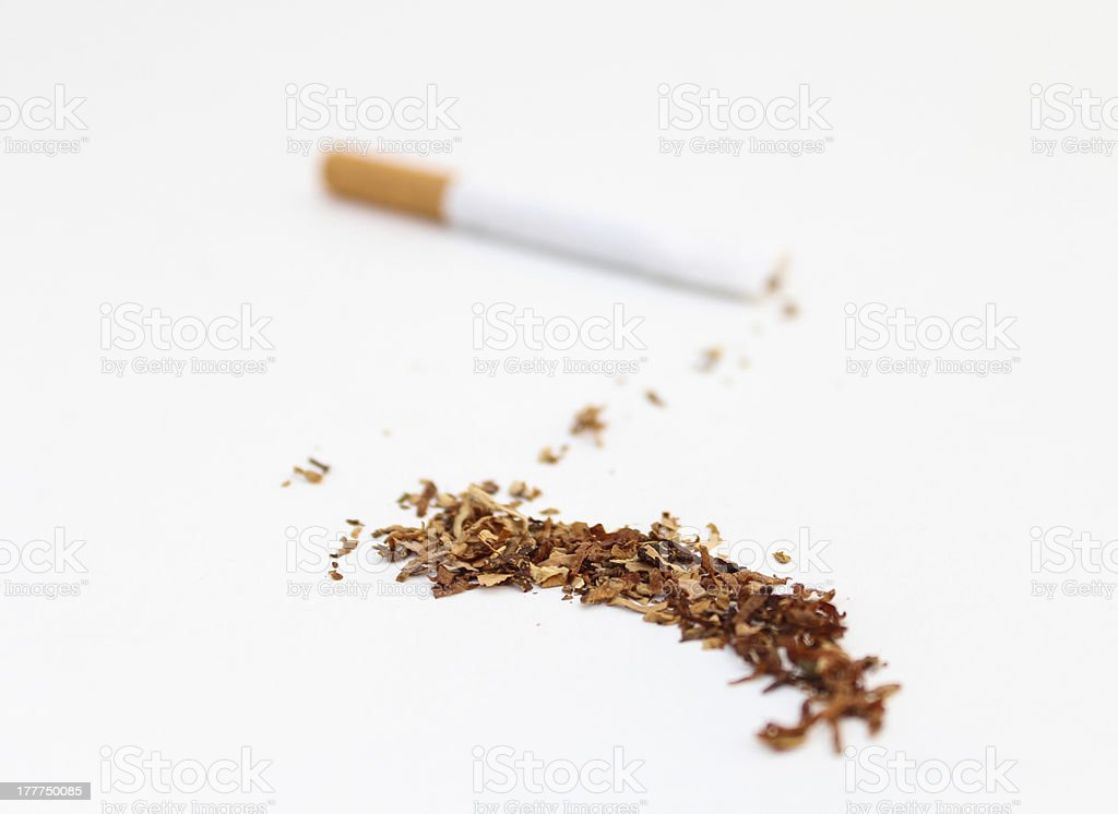 Tobacco Spilled stock photo