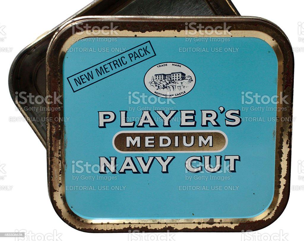 Tobacco tin Player's Medium Navy Cut stock photo