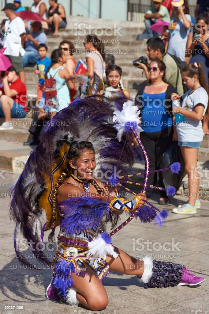 Tobas dancer at the Arica Carnival stock photo