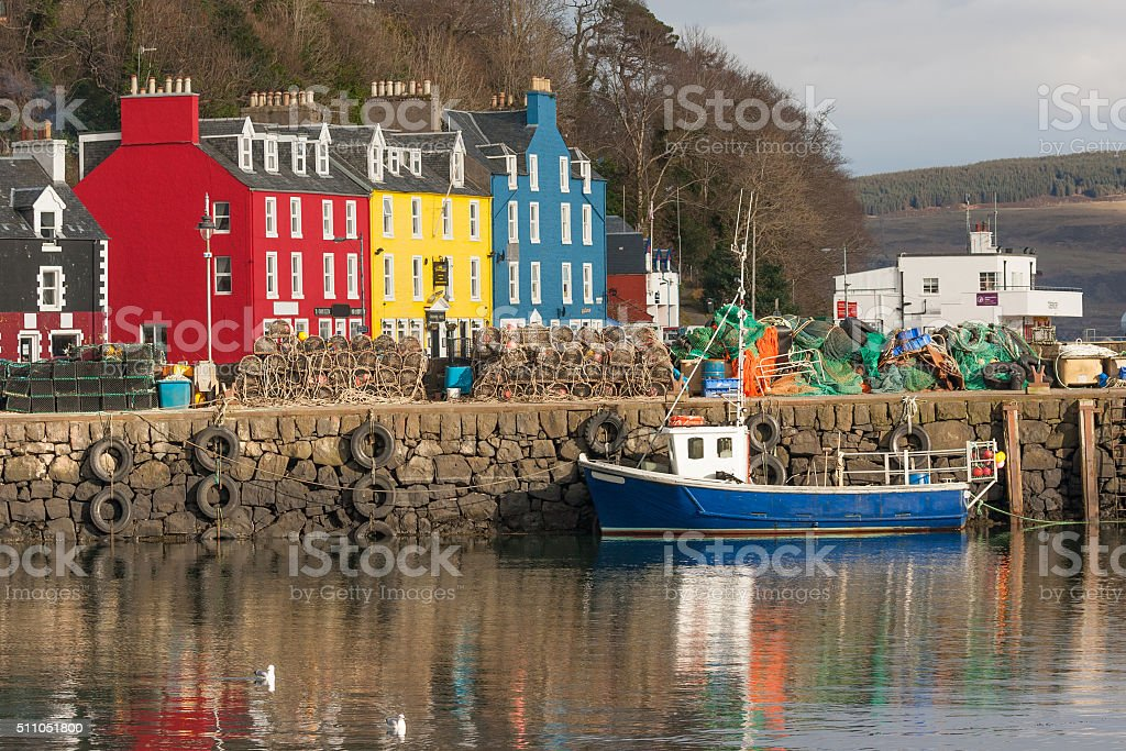 tobermory harbour stock photo